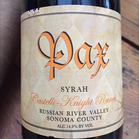 Pax  Castelli-Knight Ranch Syrah 2013