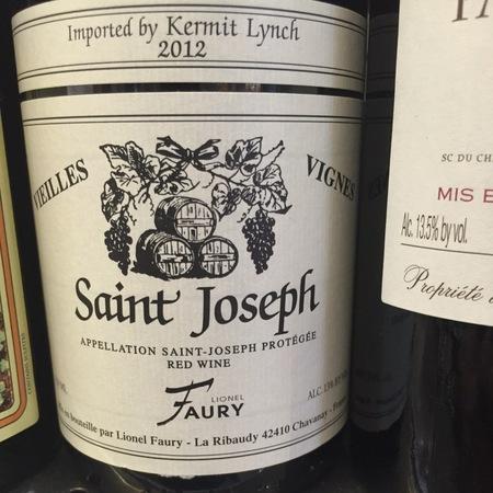 Domaine Faury Vieilles Vignes Saint Joseph Syrah 2014