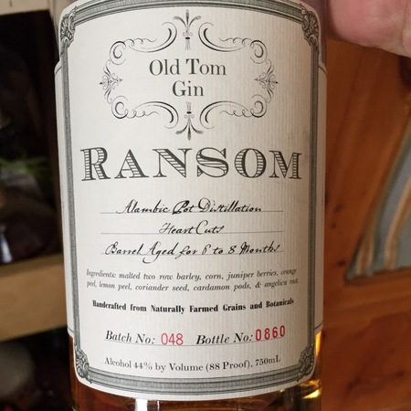 Ransom Old Tom Gin NV