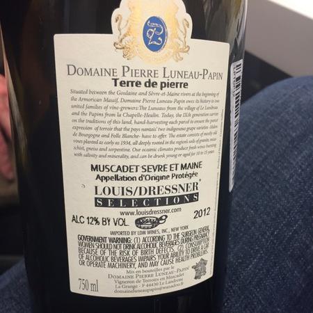 Domaine Pierre Luneau-Papin Terre de Pierre Sur Lie Muscadet de Sèvre-et-Maine Melon de Bourgogne 2015