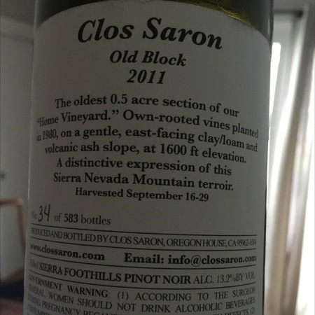 Clos Saron Old Block Home Vineyard Pinot Noir 2011