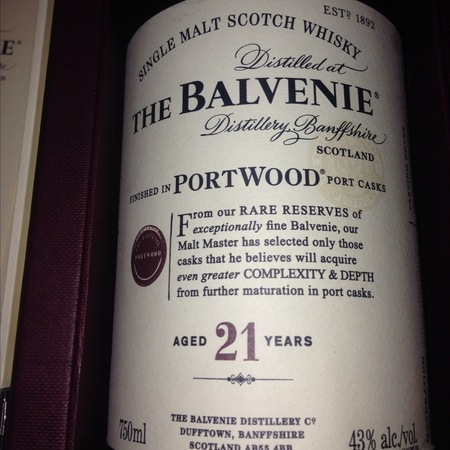 The Balvenie Distillery Single Malt Scotch Aged 21 Years PortWood Finish Whisky NV
