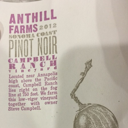 Anthill Farms Campbell Ranch Vineyard Pinot Noir 2015