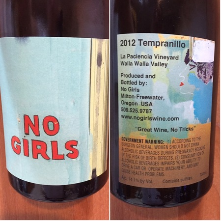 No Girls Wines La Paciencia Vineyard Tempranillo 2012