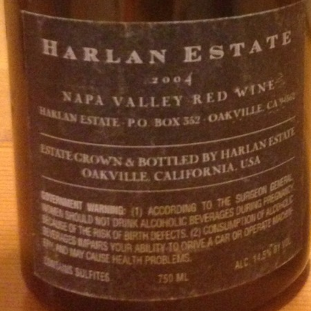 Harlan Estate Napa Valley Proprietary Red Petit Verdot Blend 2004