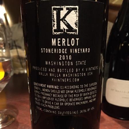 K Vintners Stoneridge Vineyard Merlot NV