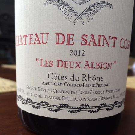 """Château de Saint-Cosme """"Les Deux Albion"""" Côtes du Rhône Red Rhône Blend 2015"""