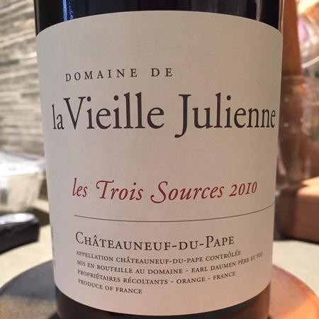 Domaine de la Vieille Julienne Les Trois Sources Châteauneuf-du-Pape Red Rhone Blend 2010