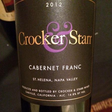 Crocker & Starr St. Helena Cabernet Franc 2012