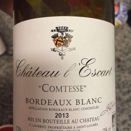 Château L'Escart Comtesse Bordeaux Blanc  2016