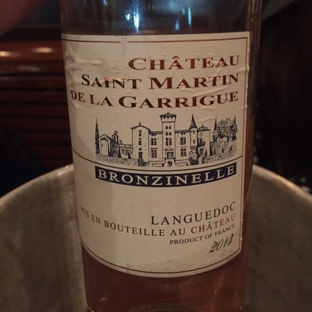 Château St Martin de la Garrigue Bronzinelle Coteaux du Languedoc Syrah Blend 2013