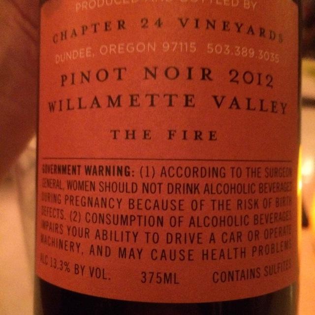 The Fire Willamette Valley Pinot Noir 2012