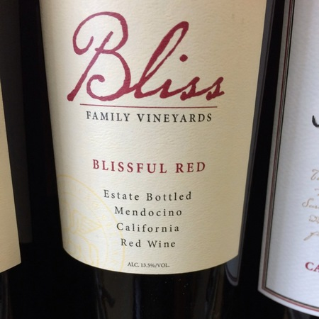 Bliss Family Vineyards Blissful Red Estate Bottled Mendocino Primitivo Blend 2014 (750ml 12bottle)