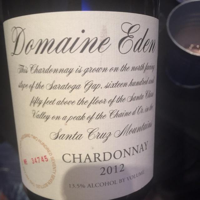 Domaine Eden Santa Cruz Mountains Chardonnay 2012