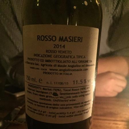 Angiolino Maule Rosso Masieri Veneto Merlot Cabernet Sauvignon 2014